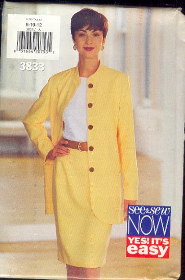 Butterick Sewing Pattern 3833 Long Jacket and skirt, Sizes  8 10 12
