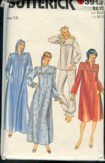 Butterick Sewing Pattern 3914 Robe with hood, gown, pajamas, Size 12