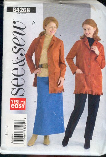 Butterick Sewing Pattern 4268 Jacket with Fringe, Skirt and Pants Petite, Size 8-12