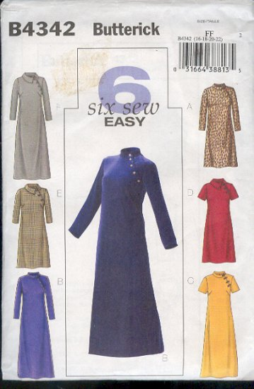 Butterick Sewing Pattern 4342 Handsome dress with six variations, Size 16 - 22