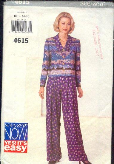 Butterick Sewing Pattern 4615 Blouse/Jacket, Pants, Sizes 12 - 16