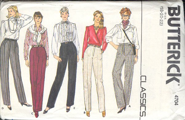 Butterick Sewing Pattern 4704 Pants with five variations, Size 18 - 22