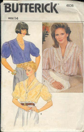 Buttreick Sewing Pattern 4836 Old Fashioned Blouse, Size 14