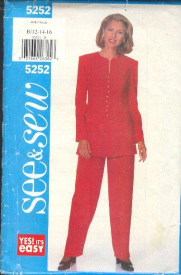 Butterick Sewing Pattern 5252 Tunic and Pants, Size 12 14 16