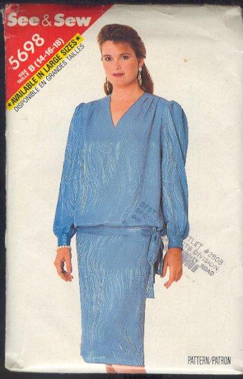 Butterick Sewing Pattern 5698 Blasoon top on straight skirt, Siex 14 - 18