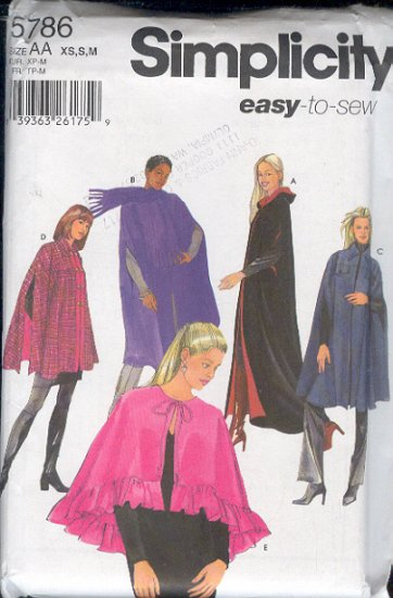 Butterick Sewing Pattern 5786 Cape in five variations with optional hood, Sizes 6-16