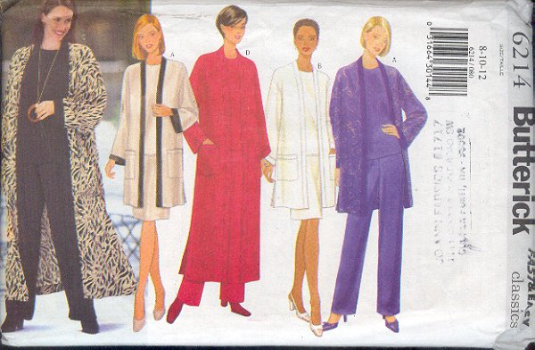 Butterick Sewing Pattern 6214 Petite Duster, Jacket, Top, Skirts and Pants, Size 8-12