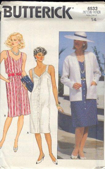 Butterick Sewing Pattern, 6533 Sundress and Box Jacket, Size 14