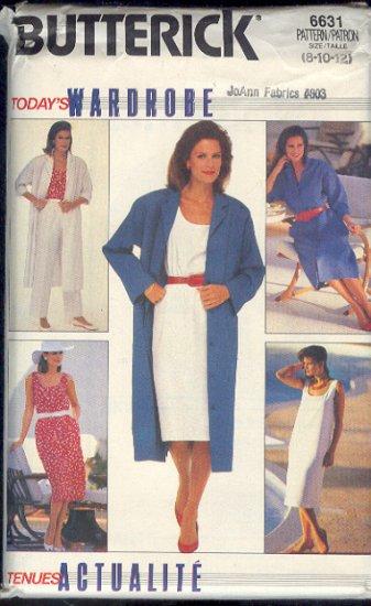 Butterick Sewing Pattern 6631 Coatdress, Dress, Pants, Tank Top and Skirt, Size 8 10 12