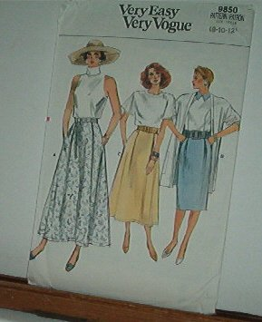 Vogue Sewing Pattern 9850 Three Skirts, Sizes 8 10 12