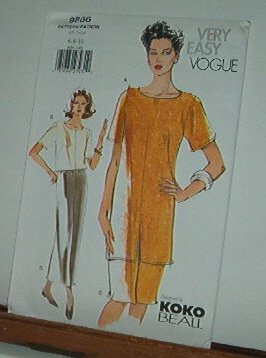 Vogue Sewing Pattern 9886 by Koko Beall, Tunic, Crop top and skirt in two lengths, Size 6 8 10
