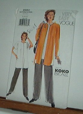 Vogue Sewing Pattern 9980 by Koko Bealle, Petite Jacket, Top and Pants, Size 8 10 12