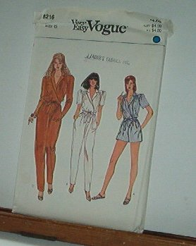 Vogue Sewing Pattern 8216 Jumpsuit in Two Lengths, Size 6
