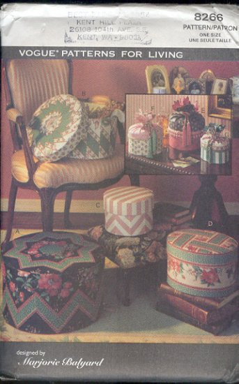 Vogue Sewing Pattern, 8266 Band Boxes, 4 with lids, 3 with drawstrings,