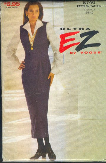 Vogue Sewing Pattern 8740 Jumper and Blouse, Size 6 8 10