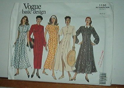 Vogue Sewing Pattern 1120 Five Dresses, Size 8 10 12
