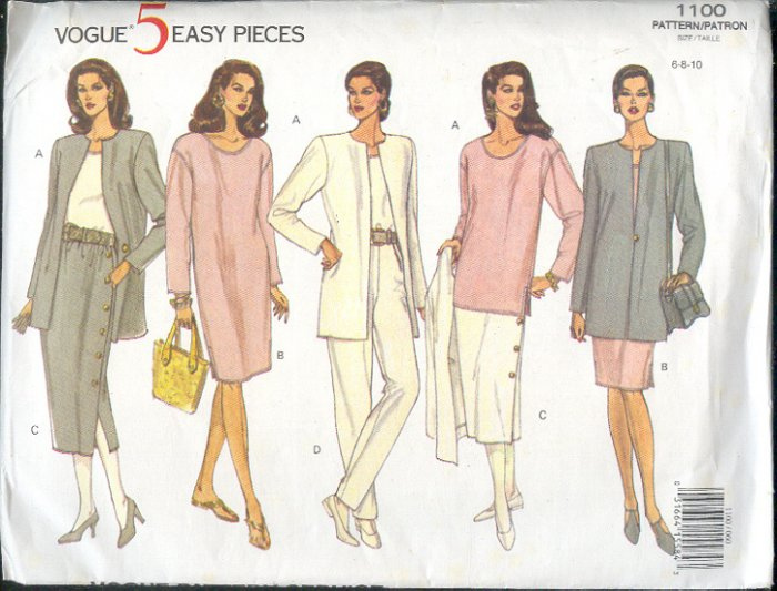 Vogue Sewing Pattern, 1100 Jacket, Top, Skirt, Pant and Dress, Sizes 8 - 10