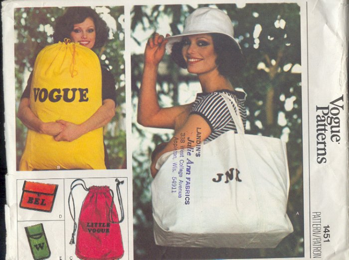 Vogue Sewing Pattern 1451 Bags, Duffle, Tote, Laundry, Cosmetic, Glasses Case, One Size