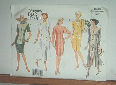 Vogue Sewing Pattern 2636 Jacket, Skirt and 2 dress styles, Size 6 8 10