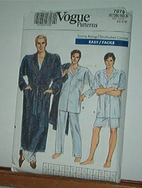 """Vogue Sewing Pattern 7079 Men's Pajamas in two lengths and Belted Robe, Size 30--40"""" chest"""