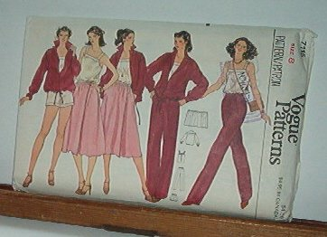 Vogue Sewing Pattern 7115 Wrap skirt, Jacket, Camesole, pants and shorts, Size 8