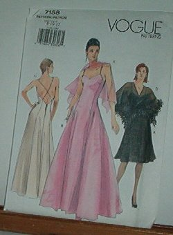 Vogue Sewing Pattern 7158 Lovely Formal with cape, Prom Dress, Size 8 10 12
