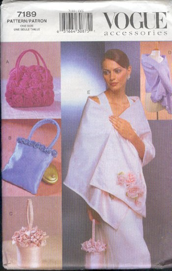 Vogue Sewing Pattern 7189 Two Stoles and three sweet handbags.  One size