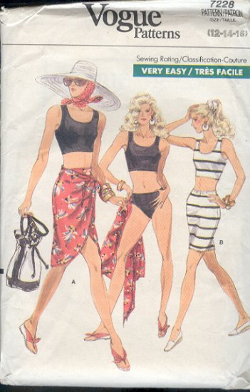 Vogue Sewing Pattern 7228 Swim Suit, Skirt and Wrap Skirt, SIze 12 14 16