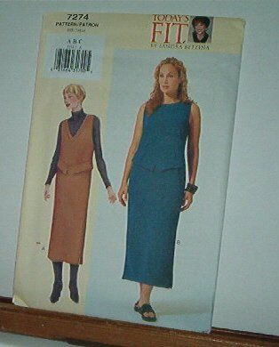"""Vogue Sewing Pattern 7274 Petite Jumper and Dress, Size 32 - 36"""" bust"""