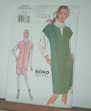 Vogue Sewing Pattern 7470 by Koko Beall, Tunic, skirt, Jumper,  Size 6 8 10