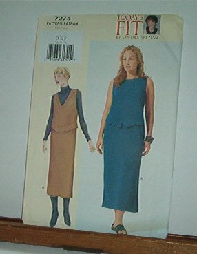 """Vogue Sewing Pattern 7274 Dress and Jumper, Petite, Size 38 - 43"""" bust"""