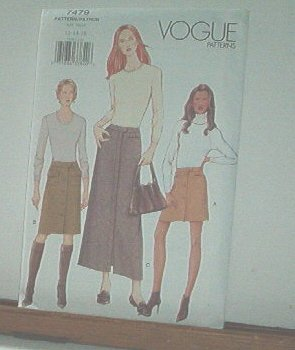Vogue Sewing Pattern 479 3 Skirts with pocket details, Size 12 14 16