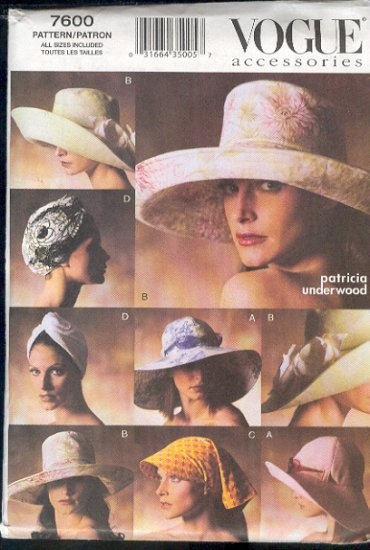 Vogue Sewing Pattern 7600 Five Hats, 9 Styles, by Patricia Underwood, Siz 21 - 23