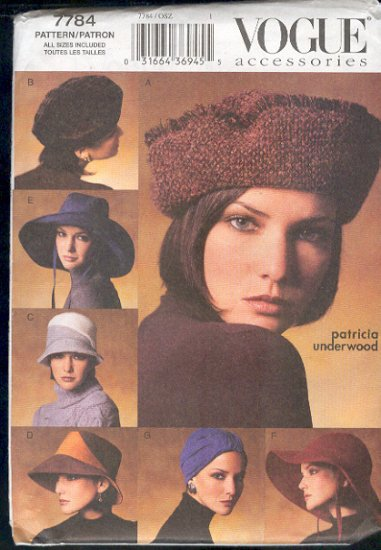 "Vogue Sewing Pattern 7784 Seven Hats by Patricia Underwood, Size 21 - 23 "" head"