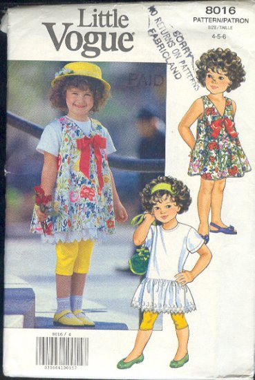 Vogue Sewing Pattern 8015 Girls Dress, Jumper and Leggings, Size 4 5 6