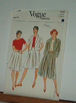 Vogue Sewing Pattern 8196 Jacket, Blouse, Skirt and Culottes, Size 6