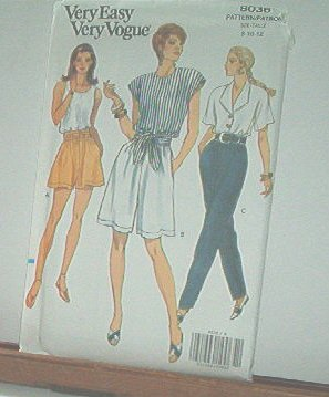 Vogue Sewing Pattern 8036 Shorts, Blouse, Tank top and Pants, Size 8 10 12
