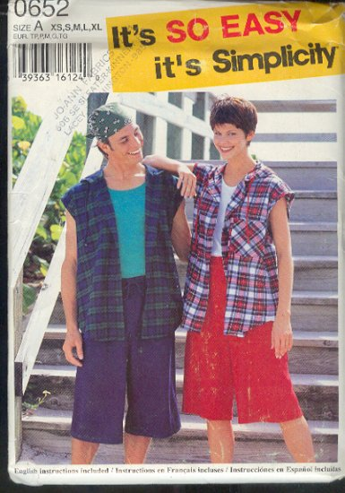 """Simplicity Sewing Pattern 0652 Hooded best shirt, shorts , unisex, Sizes 30-48"""" chest"""