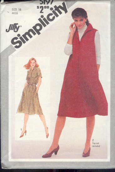 Simplicity Sewing Pattern 5197, Dress or Jumper also for maternity, Size 16