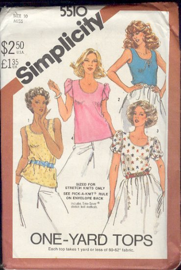 Simplicity Sewing Pattern 5510 Blouse in three versions, Size 10