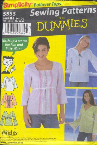 Simplicity Sewing Pattern 5553 Pretty top in three versions, Sizes 6 - 12