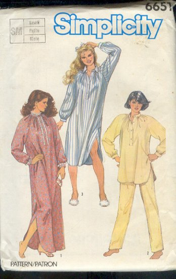 Simplicity Sewing Pattern 6651 Night Gown and Pajamas