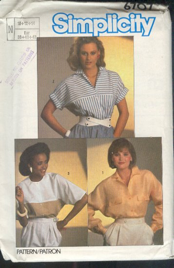 Simplicity Sewing Pattern, three blouses, Sizes 10 12 14