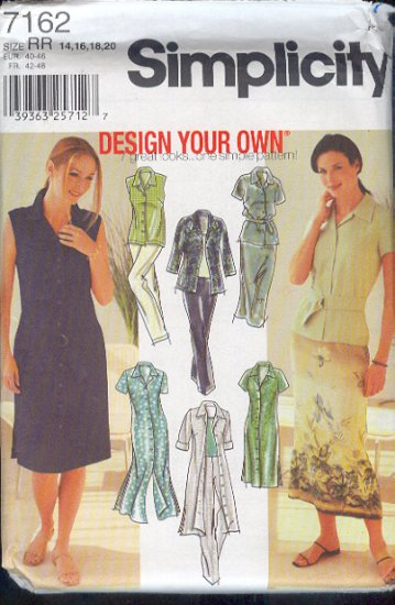 Simplicity Sewing Pattern 7162 Dress, Duster, Top, Skirt, and Pants, Size 14 - 20