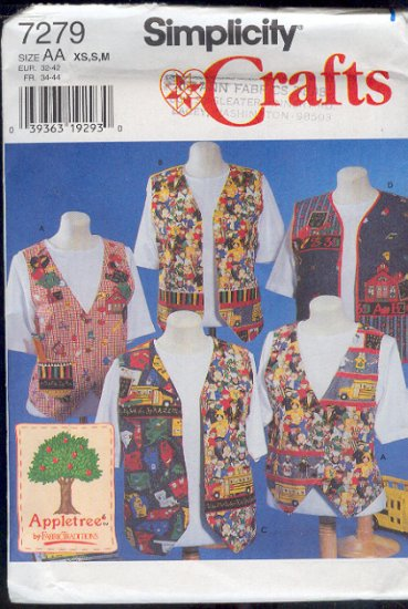 Simplicity Sewing Pattern 7279 Vests, five versions, Sizes 6-16