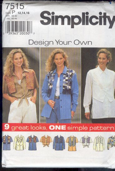 Simplicity Sewing Pattern 7515 Blous with nine versions,  Sizes 12 -16