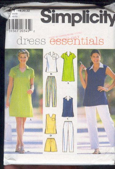 Simplicity Sewing Pattern 7644 Two Tops, dress, shorts and pants, Size 12 - 22