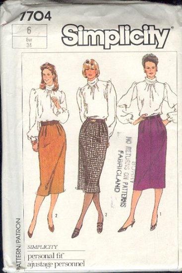 Simplicity Sewing Pattern 7704 Skirts, 3 versions, Size 6