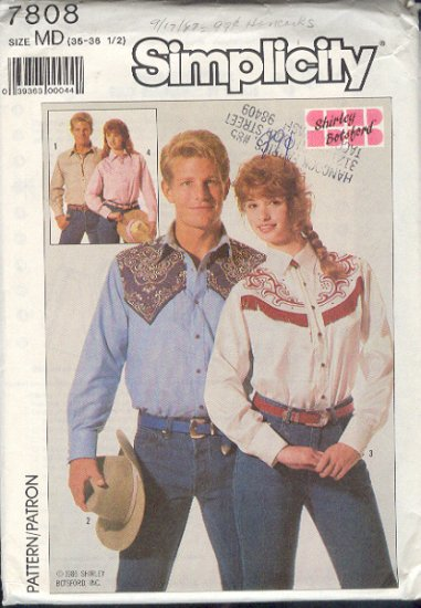 Simplicity Sewing Pattern 7808 Cowboy shirts for men and women, Siz 36 - 38 chest