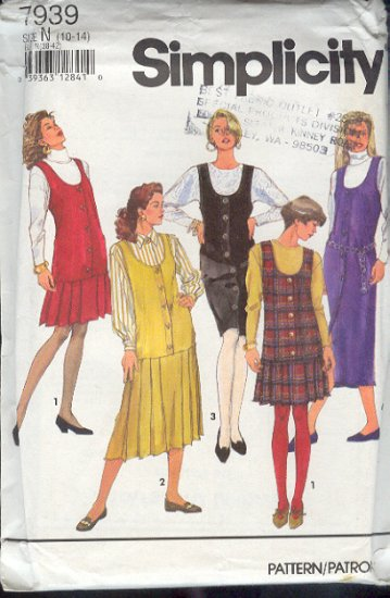 Simplicity Sewing Pattern 7939 Jumper with five variations, Size 10 - 14